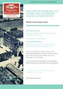 conference 2019 de nantes renaissance que s est il passe les 2 et 3 avril 1794 au chateau d aux a la montagne