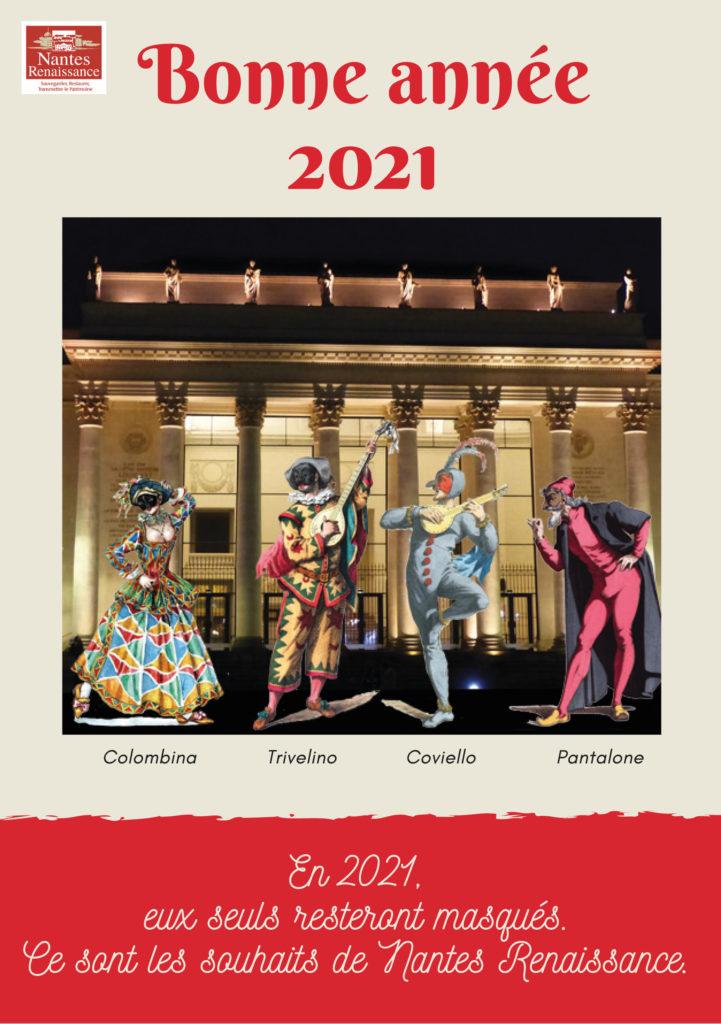 carte-voeux-2021-nantes-renaissance-presentant-personnages-comedia-del-arte-devant-theatre-graslin-nantes